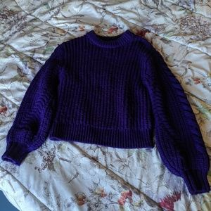 Royal Purple Topshop chunky sweater with pleating
